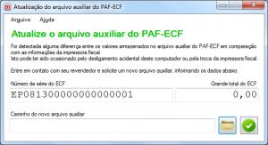 Atualização de Arquivo de PAF-ECF