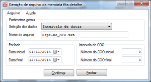 Geração de Arquivo de Memória Fita Detalhe.