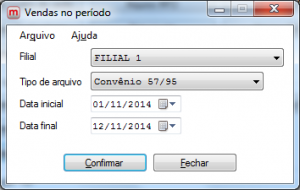 Arquivo de Vendas por Período.