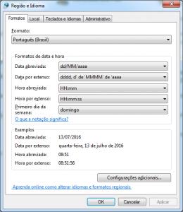 Configuração de região e idioma do Windows